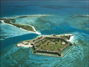 Aerial View of Fort Jefferson on Garden Key and Bush Key  Source: National Park Service
